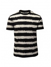 Mens t shirts online: John Varvatos white and black horizontal striped t-shirt