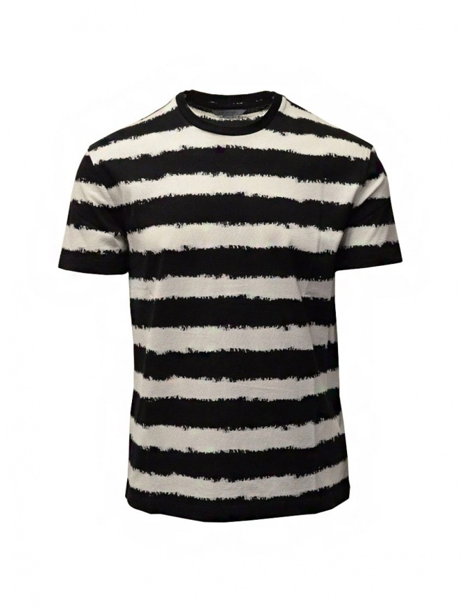 John Varvatos t-shirt a righe orizzontali bianche e nere K3258W1 BSC12 BLK 001 t shirt uomo online shopping