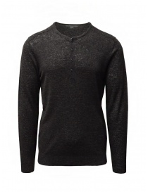 Mens knitwear online: John Varvatos black linen sweater with buttons