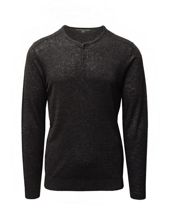 John Varvatos black linen sweater with buttons Y2784W1 AZT9 BLK 001 mens knitwear online shopping