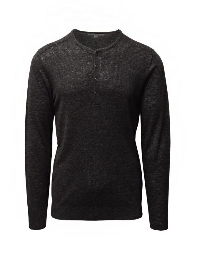 John Varvatos maglia in lino nera con bottoni Y2784W1 AZT9 BLK 001 maglieria uomo online shopping