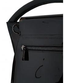 Zucca borsa nera lucida con manico singolo
