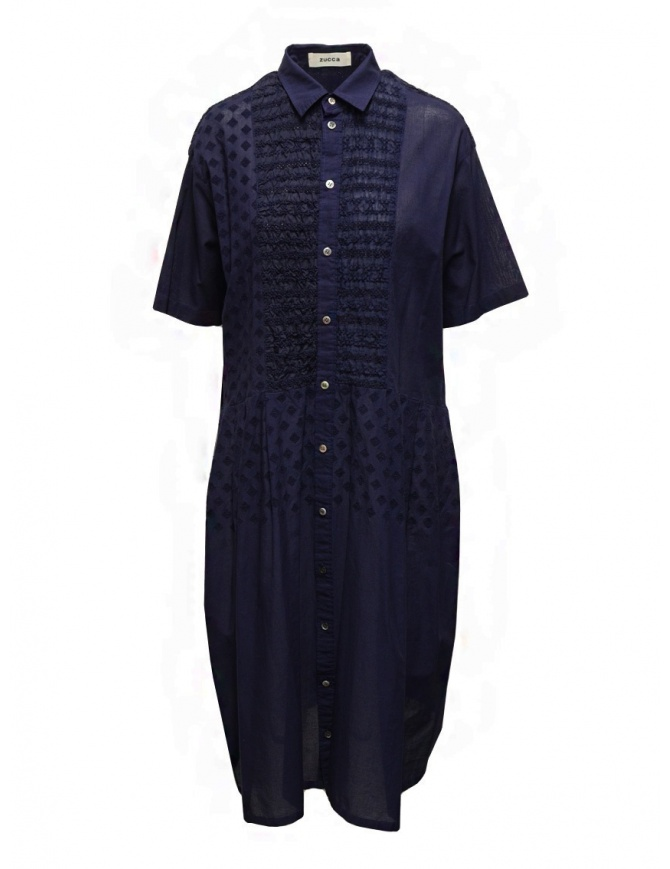 Zucca blue dress with embroidered details ZU07FH048-13 NAVY womens dresses online shopping