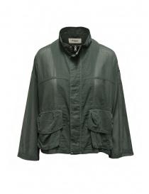 Zucca giacca in cotone velato verde khaki con zip online