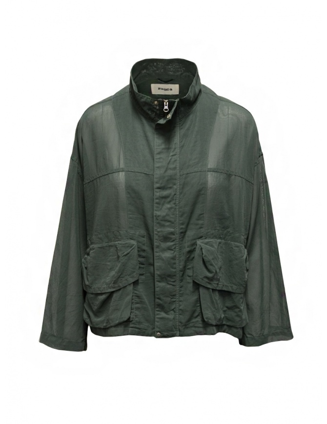 Zucca khaki green veiled cotton jacket with zip ZU07FC238-09 KHAKI womens jackets online shopping