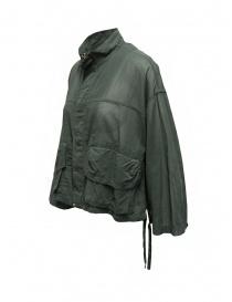 Zucca giacca in cotone velato verde khaki con zip