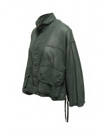 Zucca khaki green veiled cotton jacket with zip