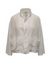 Giubbini donna online: Zucca giacca in cotone velato bianco con zip