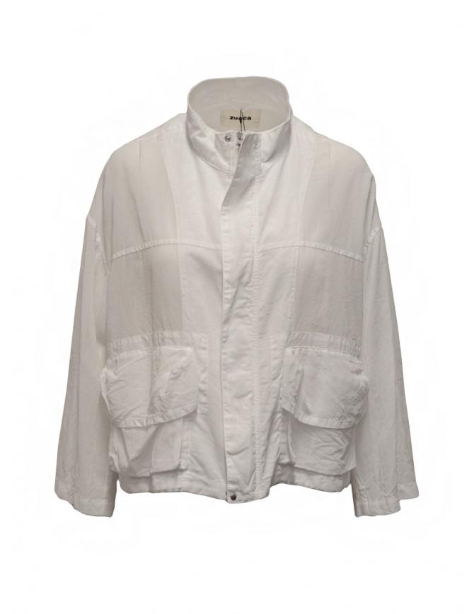 Zucca white veiled cotton jacket with zip ZU07FC238-01 WHITE womens jackets online shopping