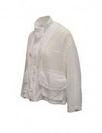 Zucca giacca in cotone velato bianco con zip