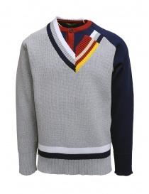 Maglieria uomo online: Kolor maglia a doppio collo grigia