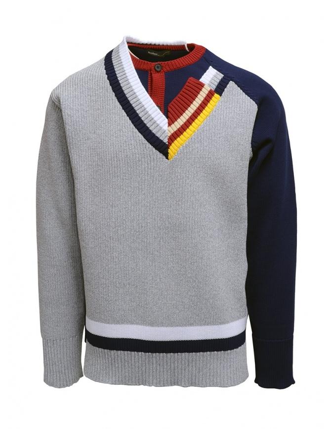 Kolor maglia a doppio collo grigia 20SCM-N02301 GRAY maglieria uomo online shopping