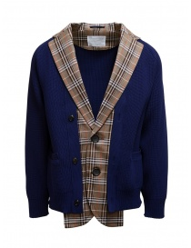 Kolor blue and brown checked cardigan jacket