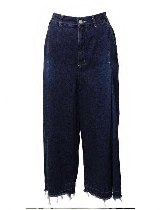 Zucca jeans a palazzo con frange sul fondo ZU07FF201-13 NAVY jeans donna online shopping