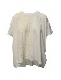 Camicie donna online: Zucca blusa bianco avorio con inserto ricamato