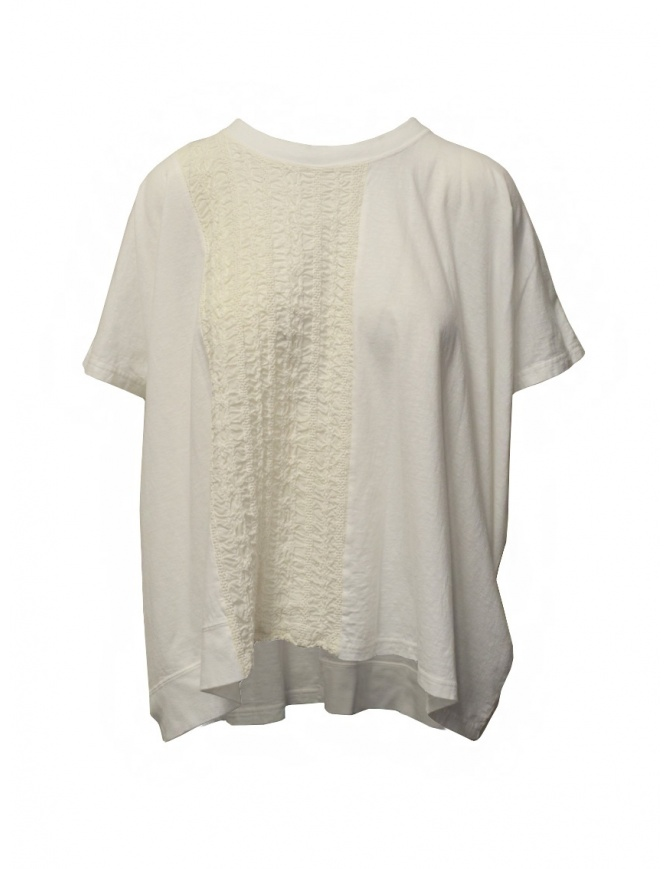 Zucca ivory white blouse with embroidered insert ZU07JK033-01 WHITE womens shirts online shopping