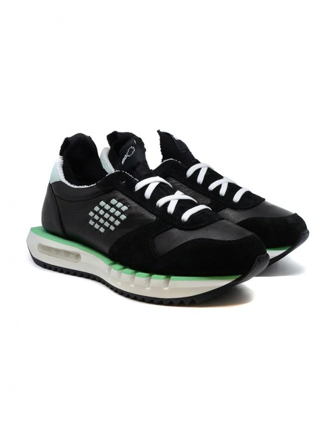 BePositive Cyber Run sneakers nere e verde acqua CYBER PLUS S0CYBER02/LEA BLK calzature uomo online shopping