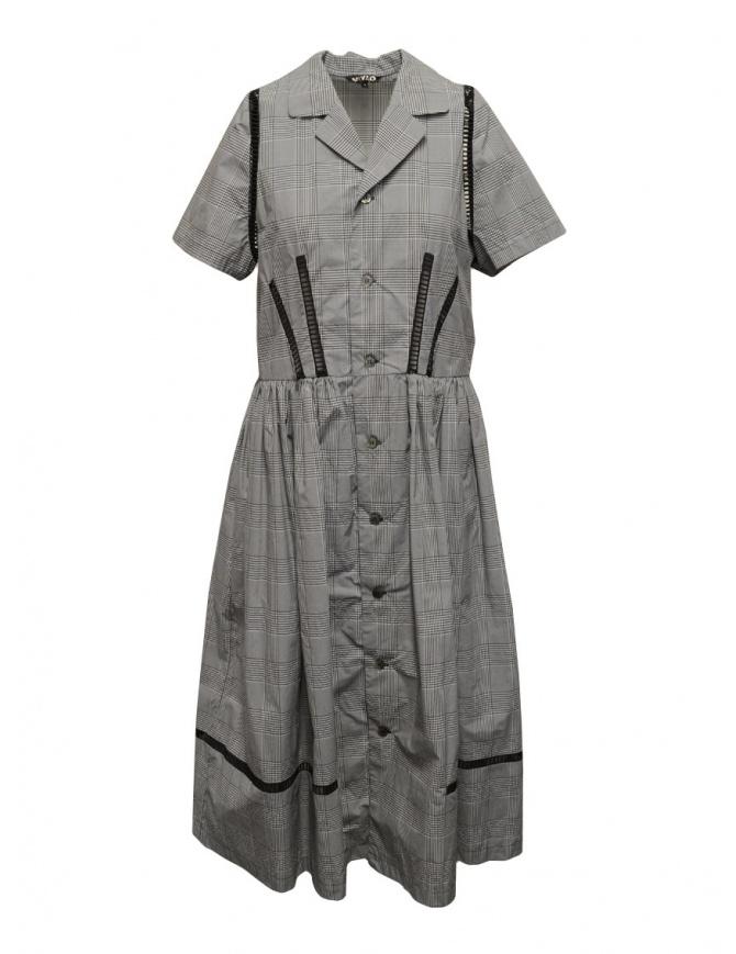 Miyao Prince of Wales check dress in gray MSOP-01 GLEN CHKxBLK womens dresses online shopping