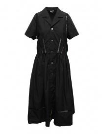 Abiti donna online: Miyao abito lungo nero con dettagli in pizzo