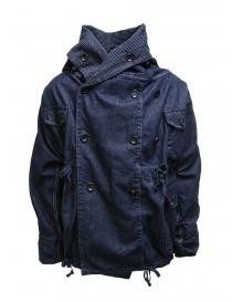 Kapital ring coat in dark blue denim EK-753 IDG order online