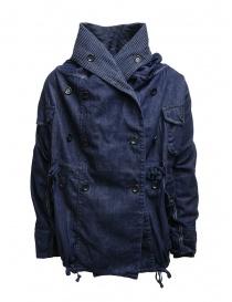 Kapital ring coat in dark blue denim