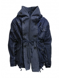 Kapital ring coat in dark blue denim