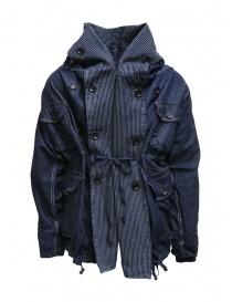 Kapital ring coat in dark blue denim buy online