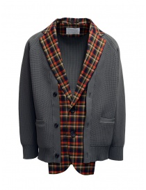 Kolor red and blue checked cardigan jacket