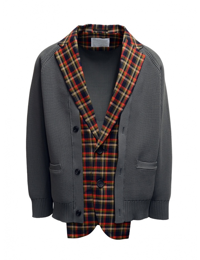 Kolor giacca cardigan a quadri rossi e blu 20SCM-J03105 NAVYxRED giubbini uomo online shopping