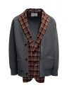 Kolor red and blue checked cardigan jacket buy online 20SCM-J03105 NAVYxRED