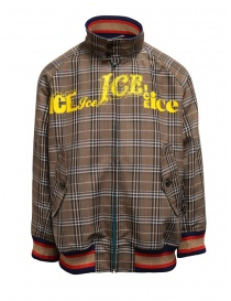 Mens jackets online: Kolor brown checked bomber jacket