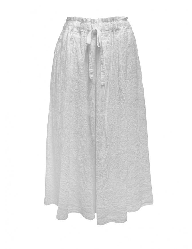 Plantation white crêpe effect skirt with drawstring PL07FG223-01 WHITE womens skirts online shopping