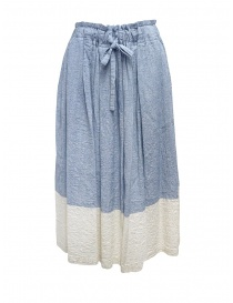 Womens skirts online: Plantation blue and white crêpe effect skirt