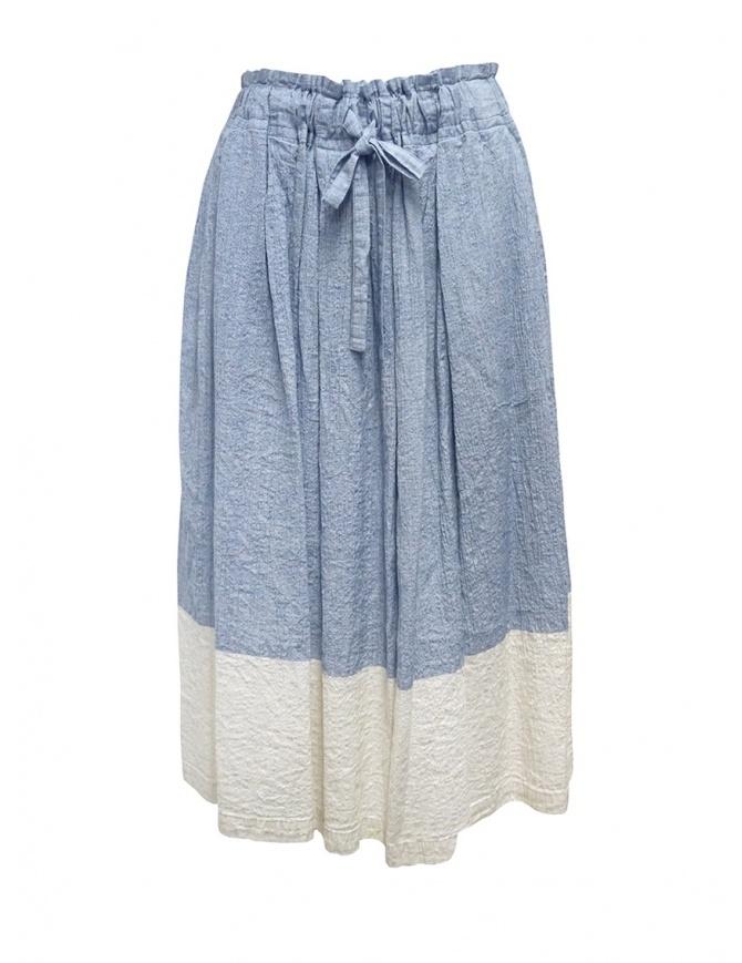 Plantation blue and white crêpe effect skirt PL07FG223-29 L.BLUE womens skirts online shopping