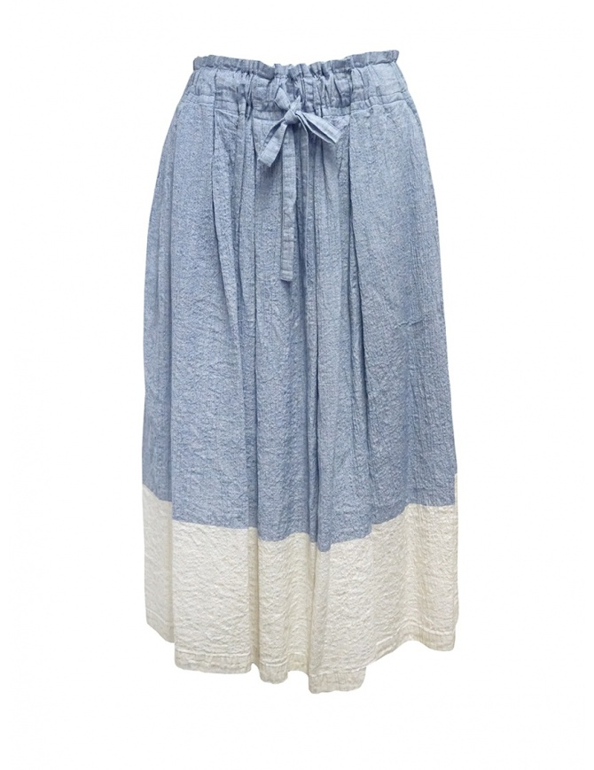 Plantation gonna effetto crêpe azzurra e bianca PL07FG223-29 L.BLUE gonne donna online shopping