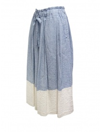 Plantation blue and white crêpe effect skirt