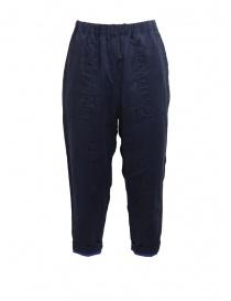 Pantaloni donna online: Plantation pantaloni double-face blu/blu navy