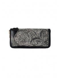 Wallets online: Gaiede black leather wallet decorated in silver