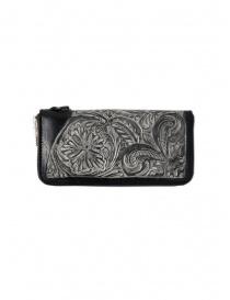 Gaiede portafogli in cuoio nero decorato in argento online