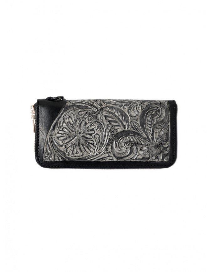 Gaiede black leather wallet decorated in silver ATCW001 BLACKxSILVER wallets online shopping