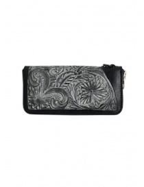 Gaiede black leather wallet decorated in silver