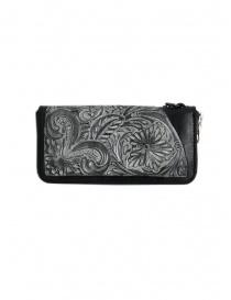 Gaiede portafogli in cuoio nero decorato in argento