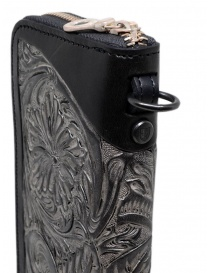 Gaiede black leather wallet decorated in silver wallets buy online