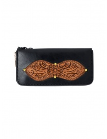 Wallets online: Gaiede black leather wallet decorated in natural leather