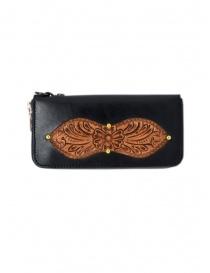 Gaiede portafogli in cuoio nero decorato in cuoio naturale online