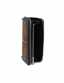 Gaiede black leather wallet decorated in natural leather price