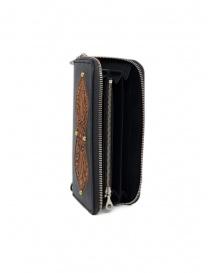 Gaiede portafogli in cuoio nero decorato in cuoio naturale prezzo