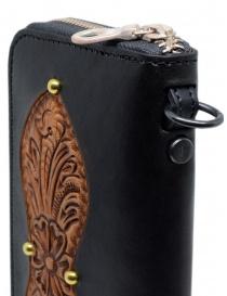 Gaiede portafogli in cuoio nero decorato in cuoio naturale portafogli acquista online