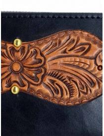 Gaiede portafogli in cuoio nero decorato in cuoio naturale portafogli prezzo