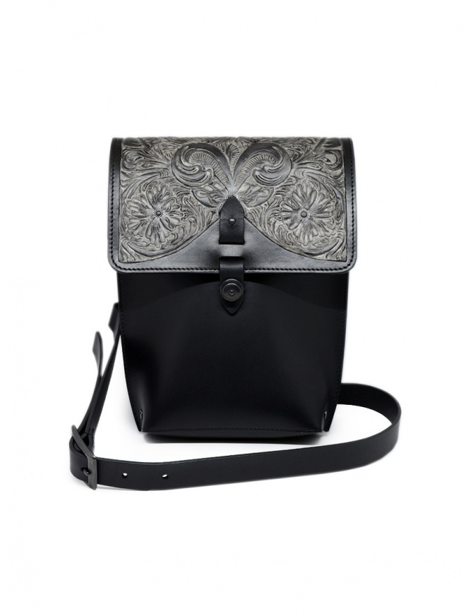 Gaiede leather bag with flap decorated in silver ATCB002 BLACKxSILVER bags online shopping